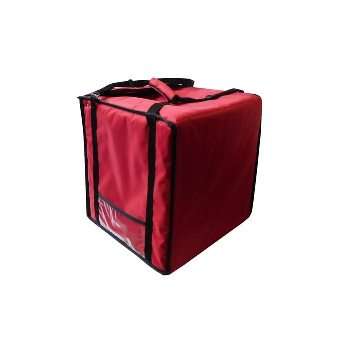 Термосумка на 9-10 пицц 350 х 350 х 500 мм, фольгированная, с вентиляцией, цвет красный