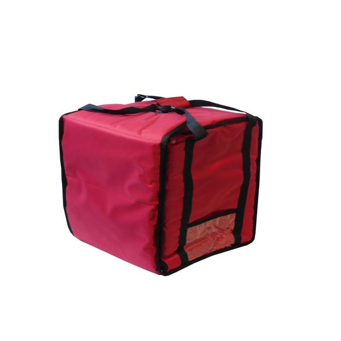 Термосумка на 9-10 пицц 450 х 450 х 500 мм, фольгированная, с вентиляцией, цвет красный