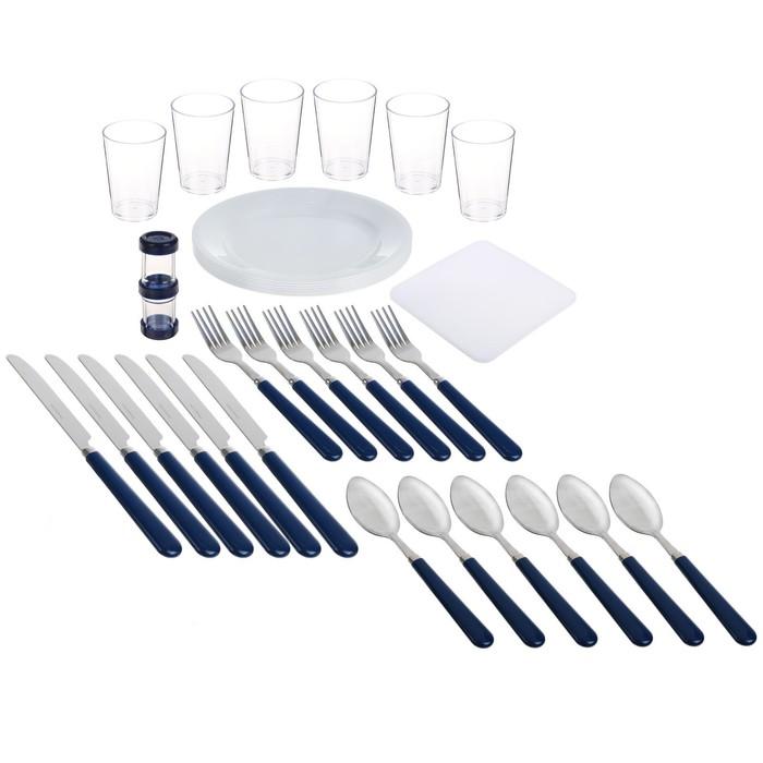 """Термосумка """"Арктика"""", 22 л, с набором посуды для пикника на 6 человек, цвет синий"""