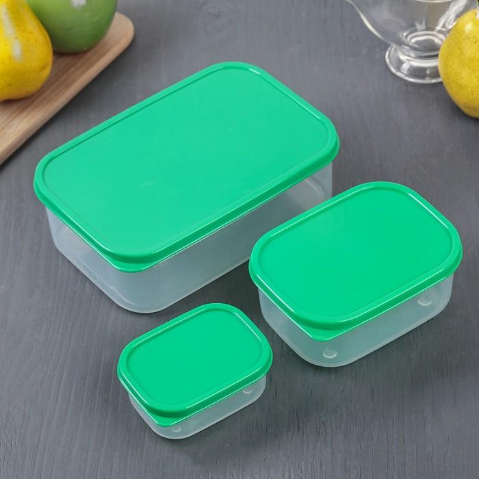 Набор контейнеров пищевых 3 шт: 150 мл; 500 мл; 1,2 л, цвет зелёный