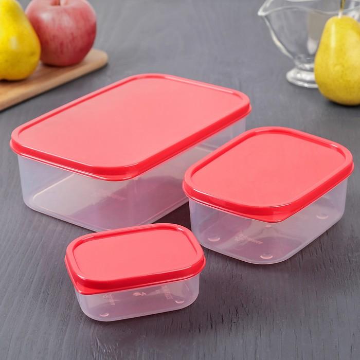 Набор контейнеров пищевых 3 шт: 150 мл; 500 мл; 1,2 л, цвет красный