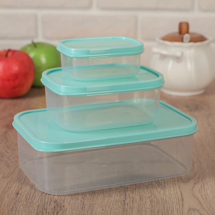 Набор контейнеров пищевых, 3 шт: 0,2 л, 0,5 л, 1,2 л, прямоугольные, цвет бирюзовый