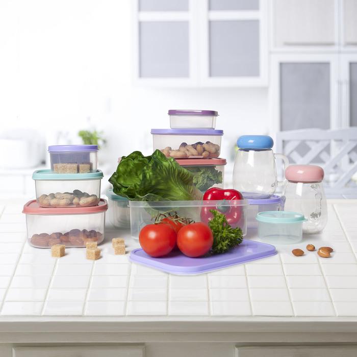 Набор контейнеров пищевых, 3 шт: 0,2 л, 0,5 л, 1,2 л, прямоугольные, цвет сиреневый