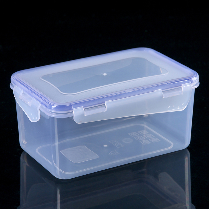 Контейнер для пищевых продуктов с зажимом прямоугольный 1,5 л, цвет прозрачный
