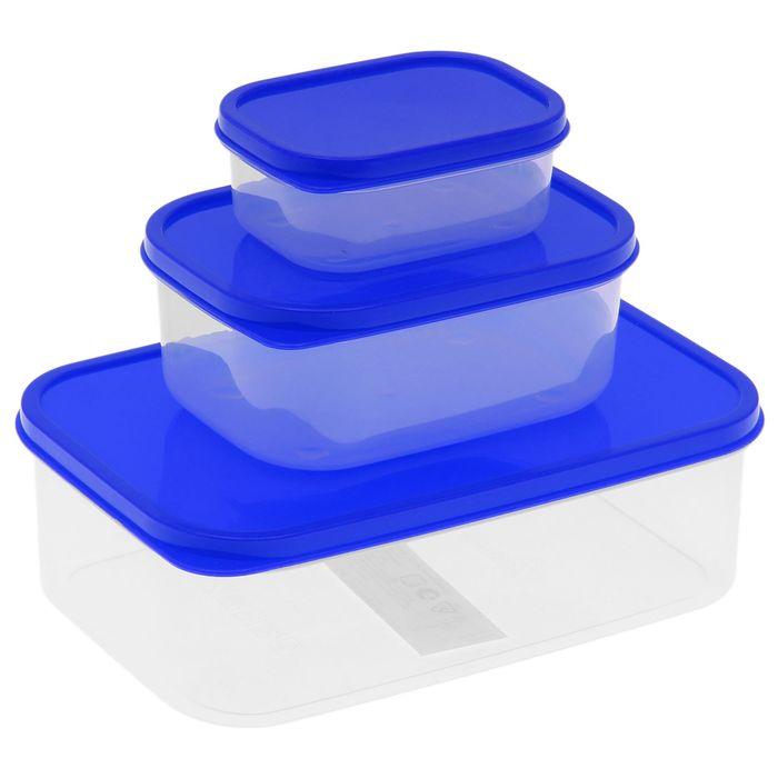 Набор контейнеров пищевых 3 шт: 150 мл; 500 мл; 1,2 л, цвет синий