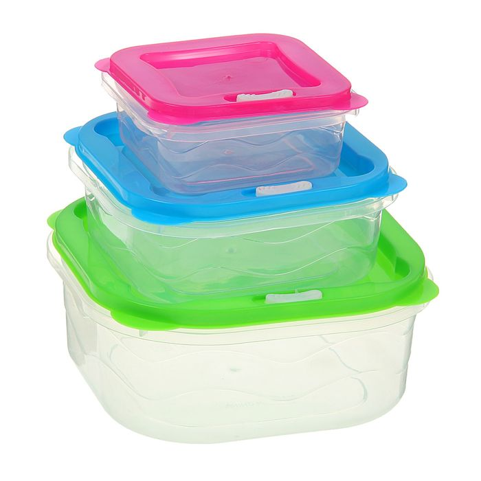 """Набор пищевых контейнеров с крышками """"Радуга"""", 3 шт, квадрат 16х7 см"""