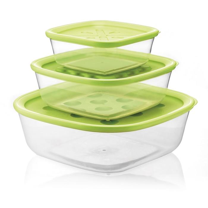 Набор из 3-х контейнеров Forme Casa, зеленый, 570 мл, 1,4 л, 2,95 л