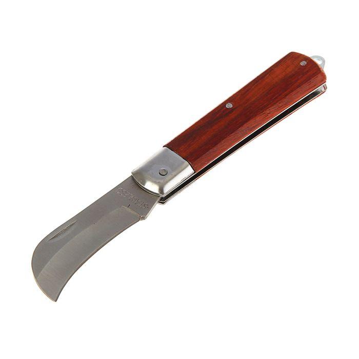 Нож универсальный TUNDRA basic, ручка дерево, складной, изогнутое лезвие