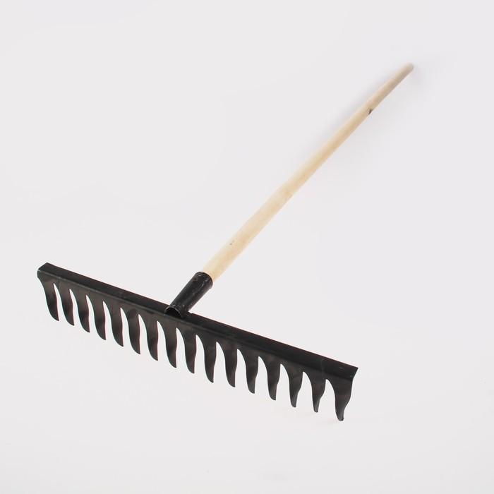 Грабли прямые, повёрнутый зубец, 16 зубцов, металл, деревянный черенок