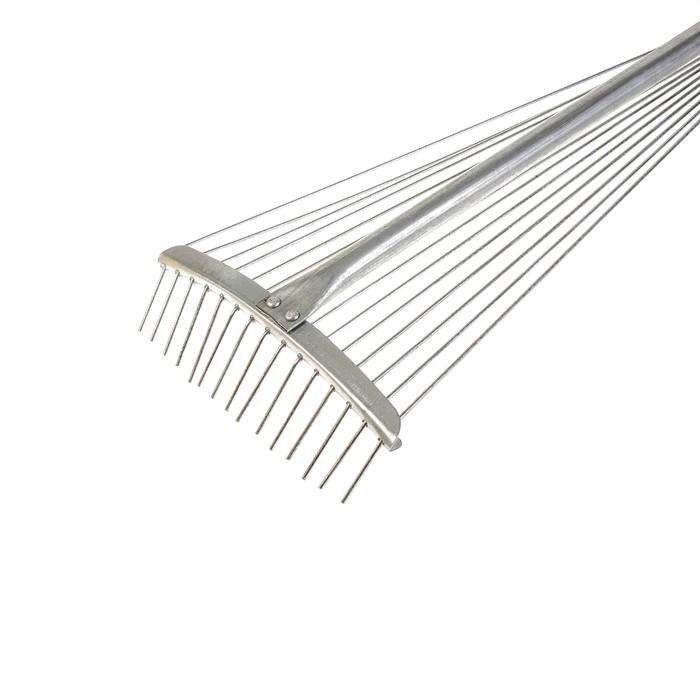 Грабли веерные, проволочные, 15 зубцов, металлические, раздвижные, металлический черенок