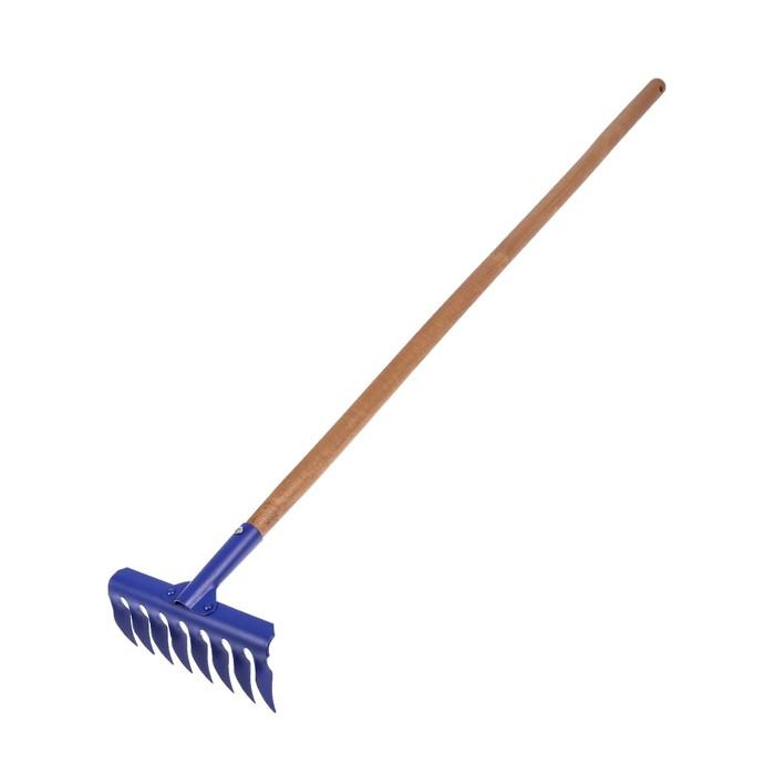 Грабли прямые, повёрнутый зубец, 8 зубцов, деревянный черенок, «Премиум»