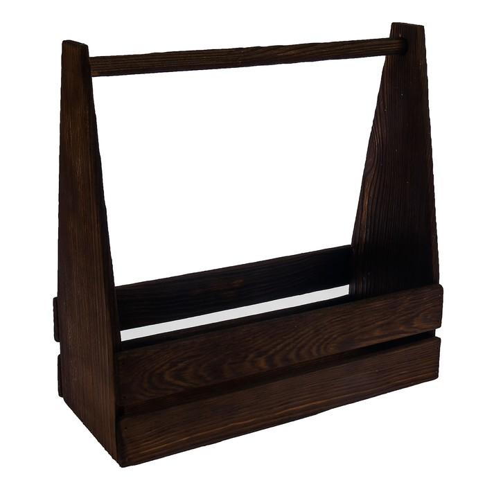 Ящик двухреечный с ручкой, брашированный, 30х14х30см