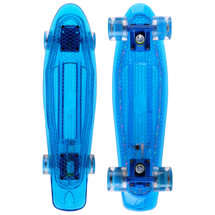 Скейтборд, светящиеся колёса PU 60х45 мм, алюминиевая рама, цвет МИКС