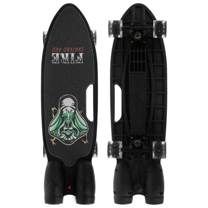 Скейтборд с эффектом дыма 68х20 см, колёса световые PU 60х45 мм, ABEC 7, цвет чёрный