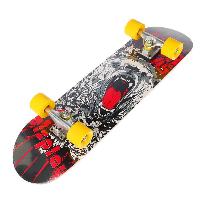 Скейтборд с ярким рисунком на деке, алюминиевая рама, колёса PU 60х45 мм, цвета МИКС