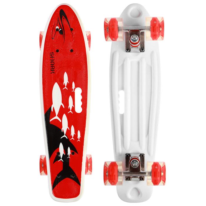 Скейтборд с ручкой 55х14 см, колёса световые PU 60х45 мм, ABEC 7, алюминиевая рама
