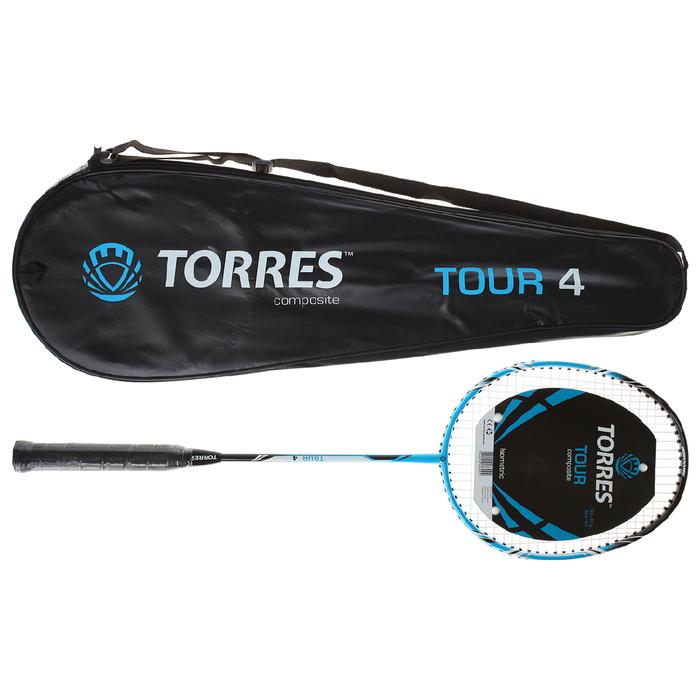 Ракетка бадм. TORRES Tour4,арт.BD-501 для любителе,стерж из графита,алюм.обод,со струнами, с   36949