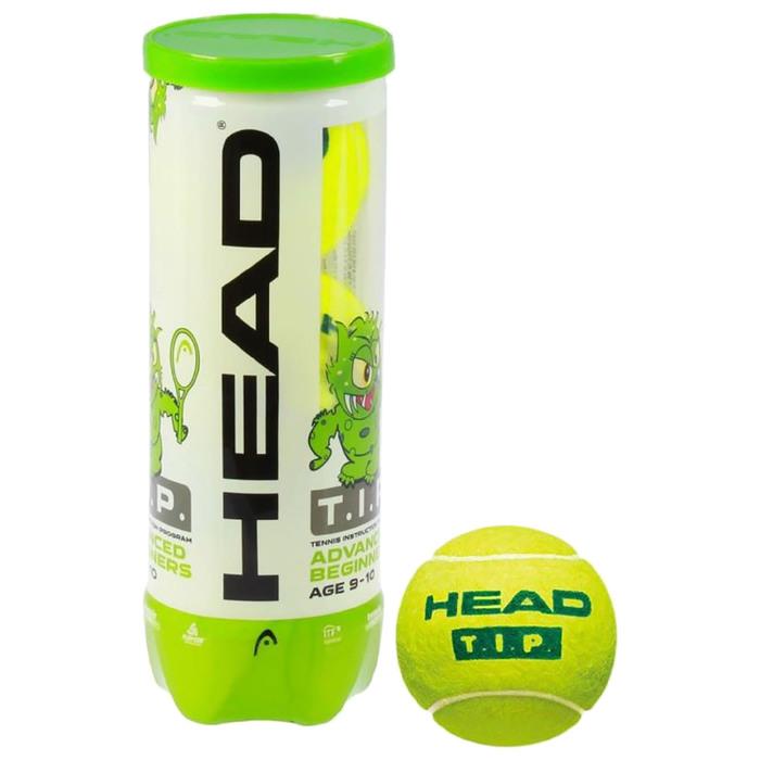 Мяч теннисный Head T.I.P Green, набор 3 штуки, фетр, натуральная резина