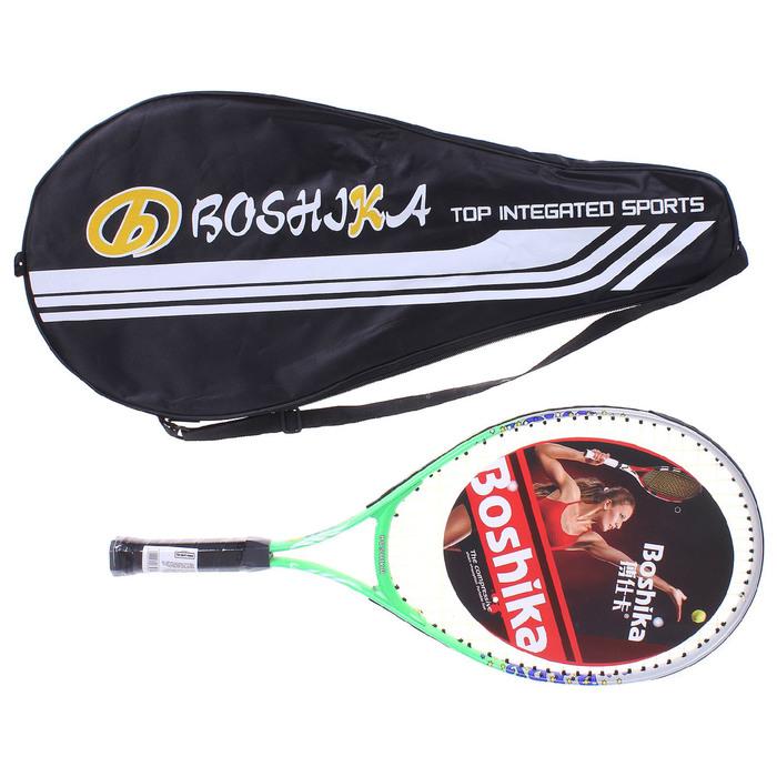 Ракетка для большого тенниса BOSHIKA, детская, алюминиевая, цвет зеленый
