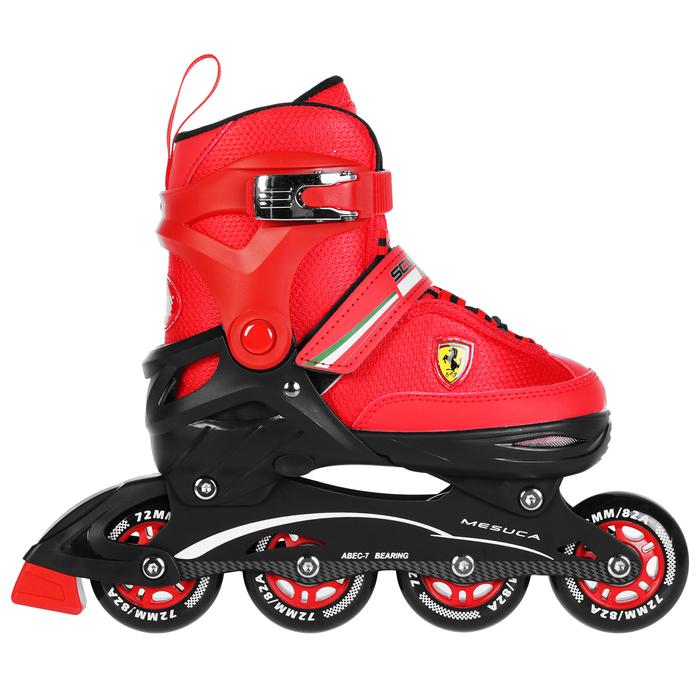 Роликовые коньки FERRARI р. 34-37, колеса PU, ABEC 7, цвет красный