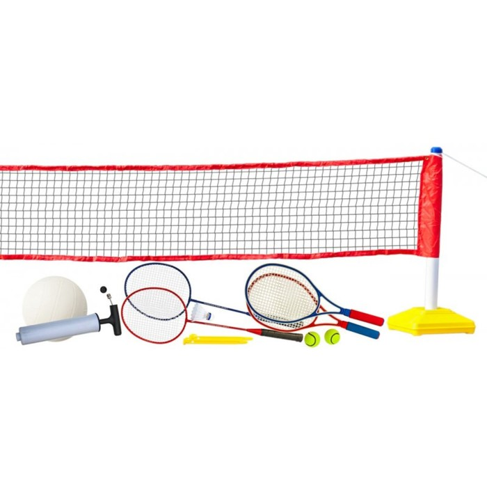 """Набор для волейбола, тенниса, бадминтона с сеткой """"Prazer 3 в 1"""" (полный набор аксессуаров)"""