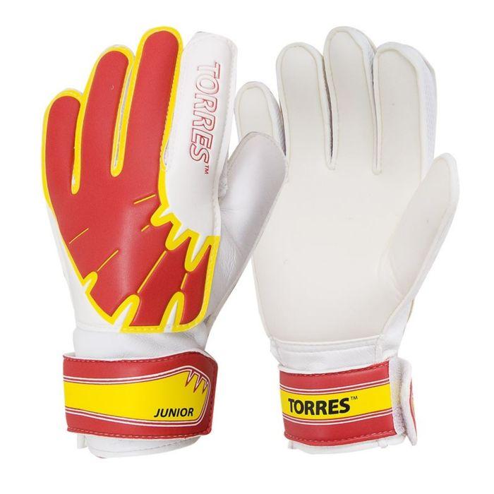 Перчатки вратарские TORRES Jr, размер 5, цвет бело-красно-жёлтый