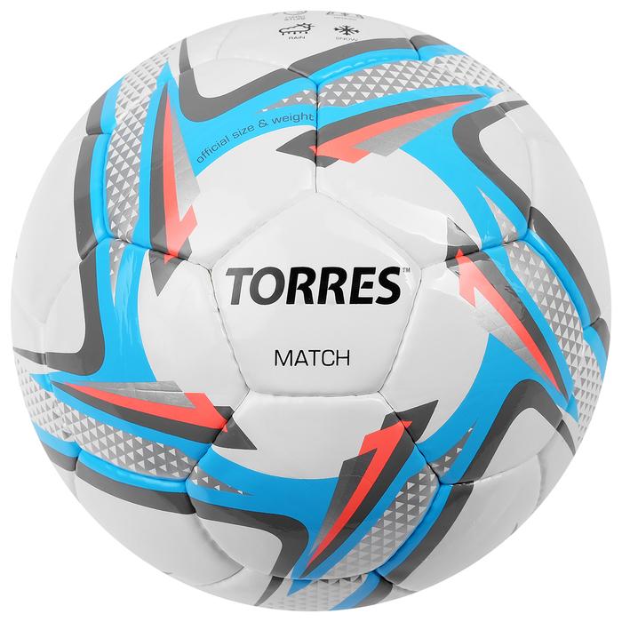 Мяч футбольный Torres Match, F30024, размер 4, 32 панели, PU, ручная сшивка