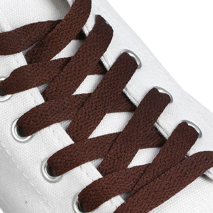 Шнурки для обуви, 9 мм, 180 см, пара, цвет коричневый