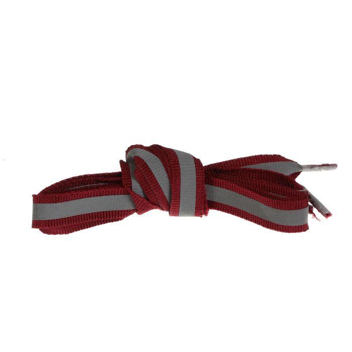 Шнурки для обуви, со светоотражающей полосой, d = 10 мм, 70 см, пара, цвет бордовый
