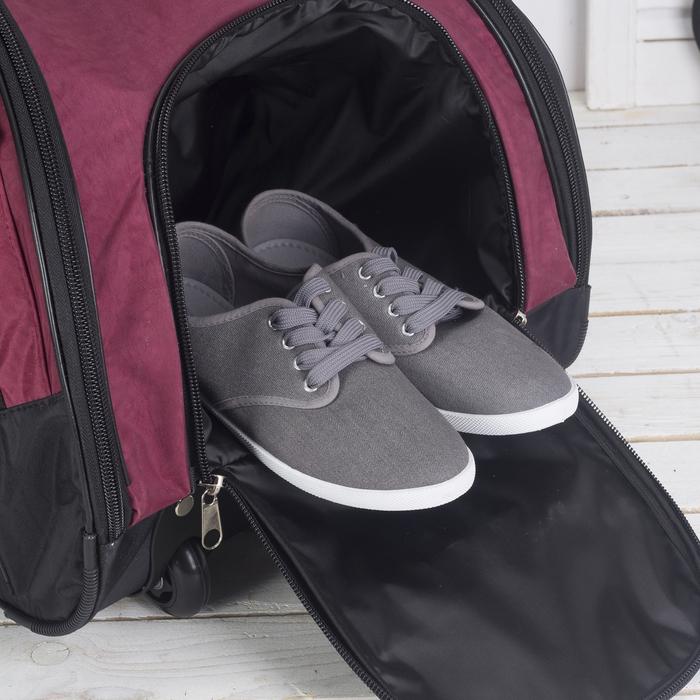Сумка дорожная на колёсах, отдел на молнии, отдел для обуви, 3 наружных кармана, цвет бордовый