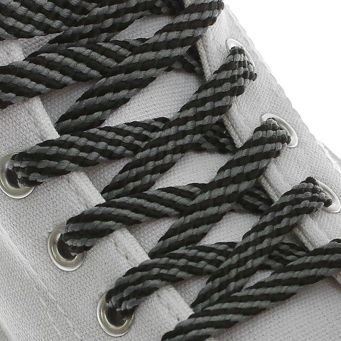 Шнурки для обуви, 8 мм, 90 см, пара, цвет чёрно-серый