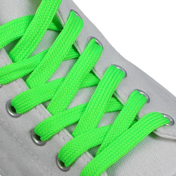 Шнурки для обуви, 7 мм, 120 см, пара, цвет зелёный неоновый