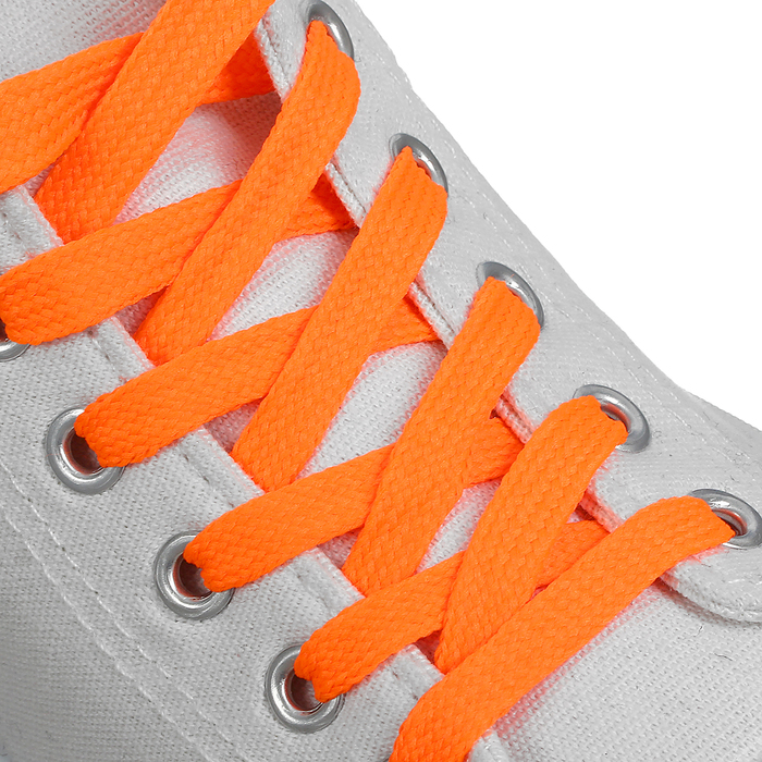 Шнурки для обуви, 7 мм, 120 см, пара, цвет оранжевый неоновый