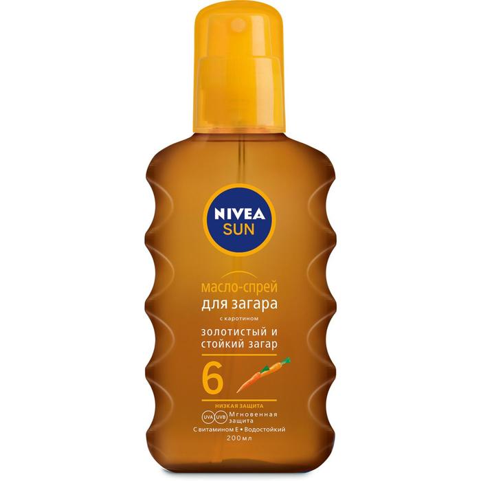 Масло-спрей для загара Nivea Sun увлажняющее, с каротином SPF 6, 200 мл