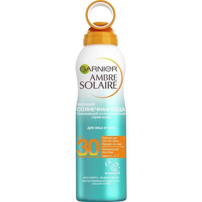 Солнцезащитный спрей-вуаль Garnier Ambre Solaire «Солнечная вода» Spf30, освежающий, с алоэ вера, 200 мл