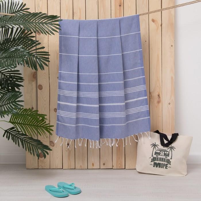 Полотенце пляжное пештемаль 100х180 см, цв синий, 280 г/м2,хлопок 100%