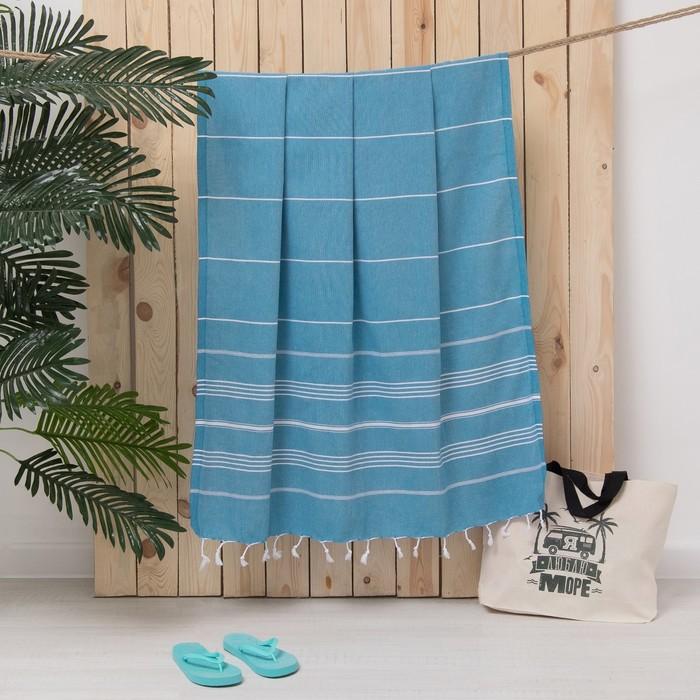 Полотенце пляжное пештемаль 100х180 см, цв голубой, 280 г/м2,хлопок 100%