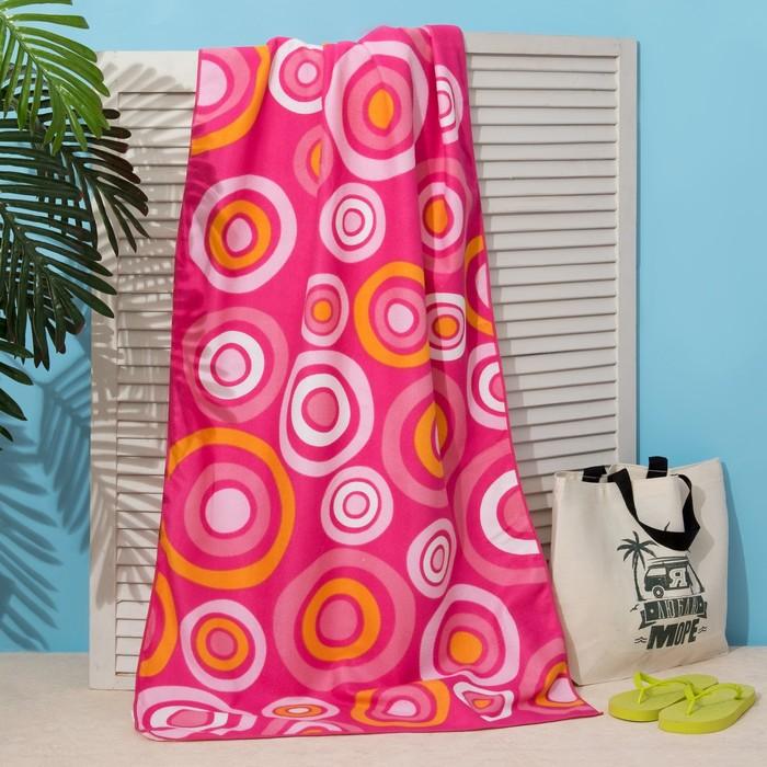 Полотенце пляжное Этель 70*140 см, Розовые круги, микрофибра 250гр/м2