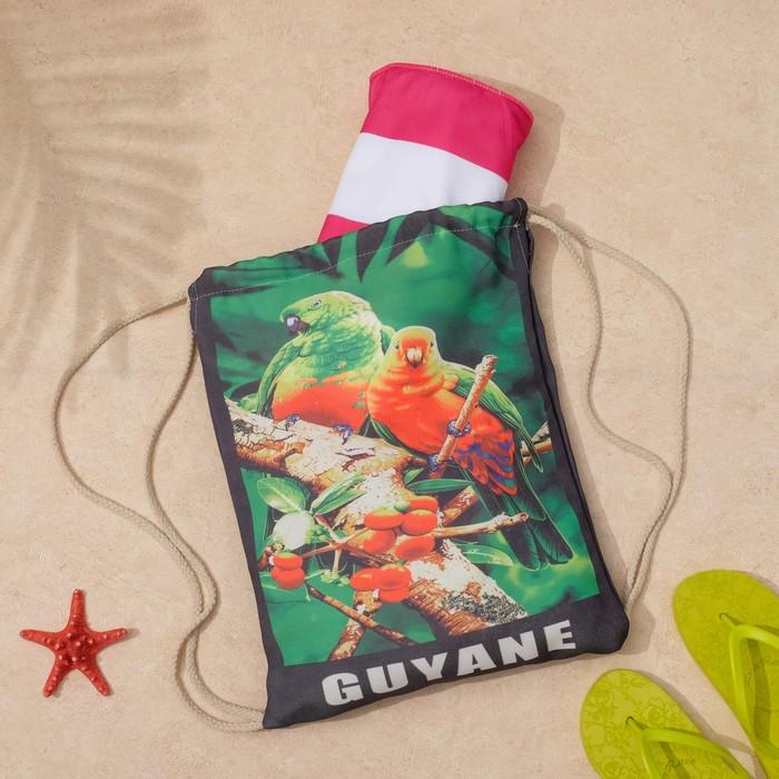 """Полотенце пляжное в сумке Этель """"Попугаи"""", 70*140 см, микрофибра, 100% п/э"""