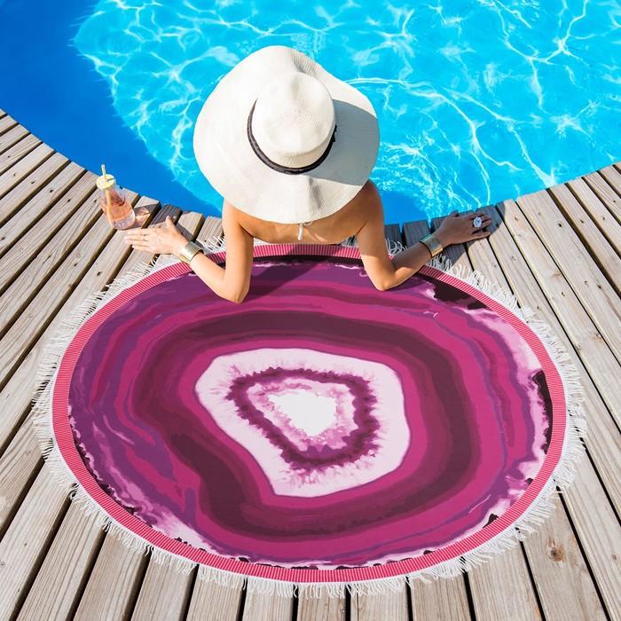 Полотенце пляжное круглое Этель «Минерал»,цветрозовый диаметр 150 см, 100 % п/э