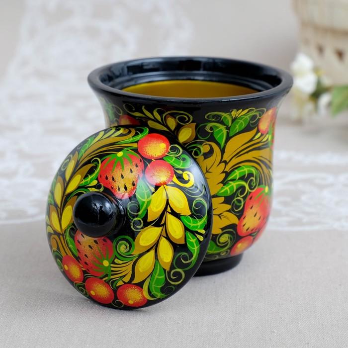 Чайница, с крышкой, 10×12,5 см, курская хохлома