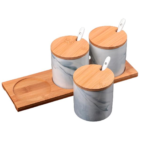 Набор банок для сыпучих продуктов Эстет.Мрамор 300 мл 3 пр.