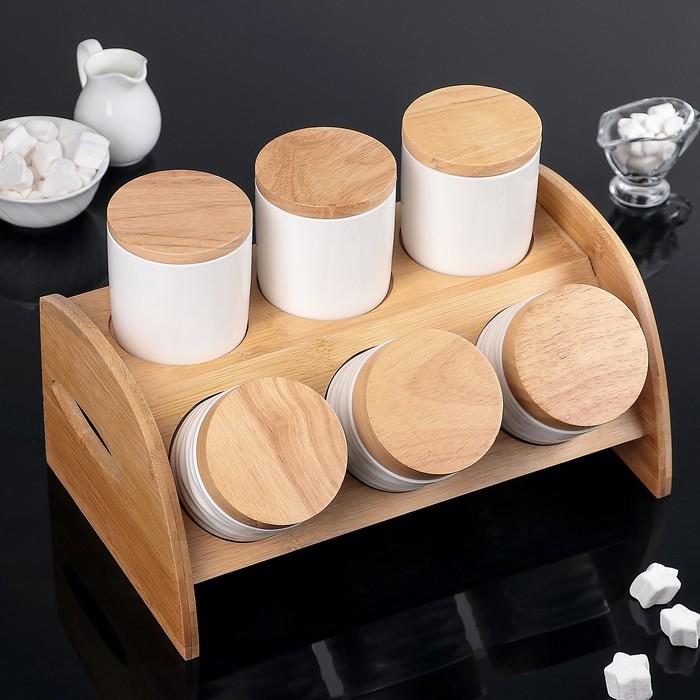 """Набор банок для сыпучих продуктов""""Эстет"""", 6 шт, на деревянной подставке"""