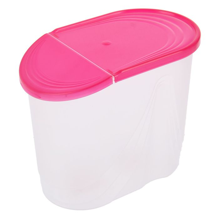 Емкость для сыпучих продуктов 1,5 л Wave, цвет розовый