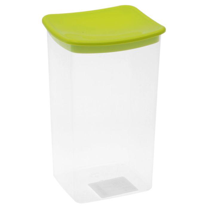 Емкость для сыпучих продуктов 1,9 л квадратная, цвет салатовый