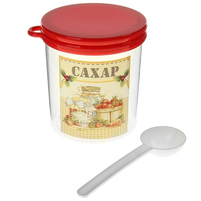 """Емкость для сыпучих продуктов 700 мл """"Ассорти. Сахар"""" с ложкой и крышкой"""