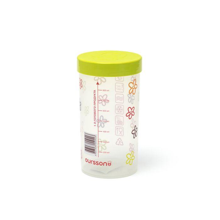 Емкость для сыпучих пластиковая Oursson, JA55042/GA, салатовая крышка, 1 л