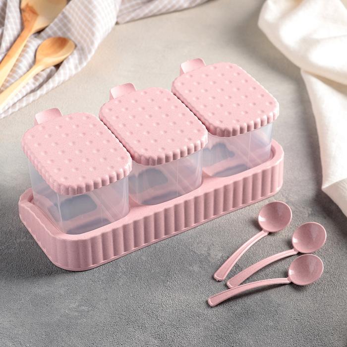 Набор банок для сыпучих продуктов 22,5×11,5×8,5 см, 3 шт, на подставке