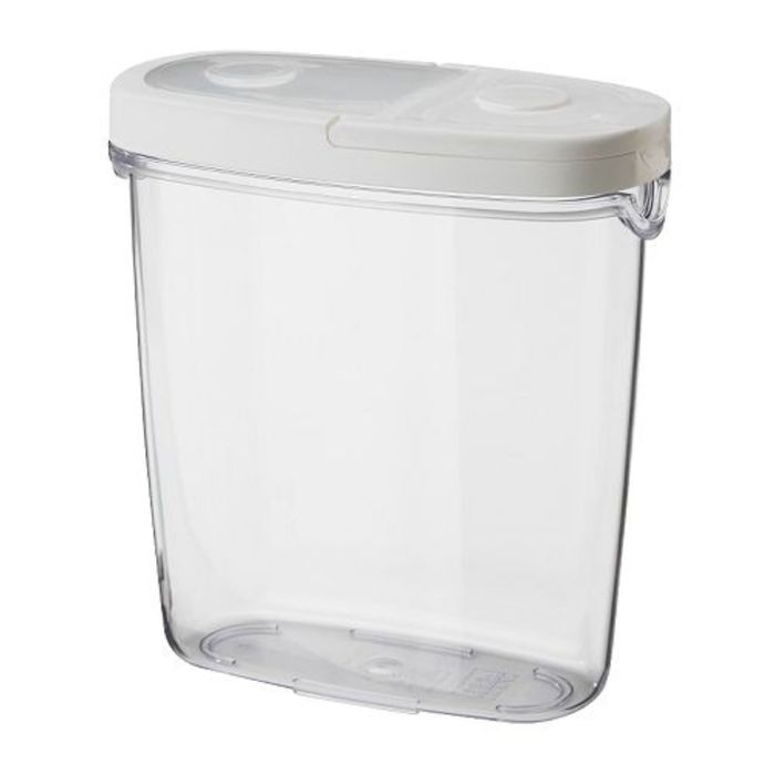 Контейнер+крышка для сухих продуктов, цвет прозрачный/белый, 1,3 л