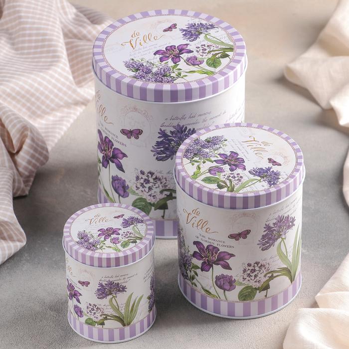 """Набор банок для сыпучих продуктов """"Лаванда"""", 3 шт: 7×9 см/10×13 см/13×16 см"""